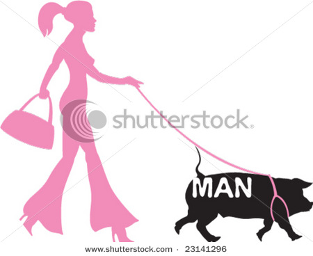 stock-vector-woman-walking-man-pig-on-a-leash-23141296